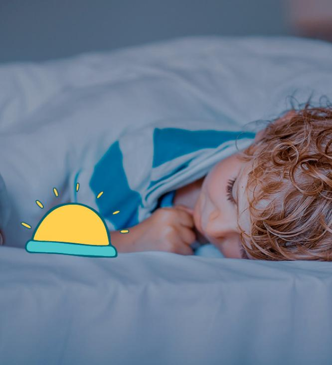 Boy sleeping with nightlight illustration
