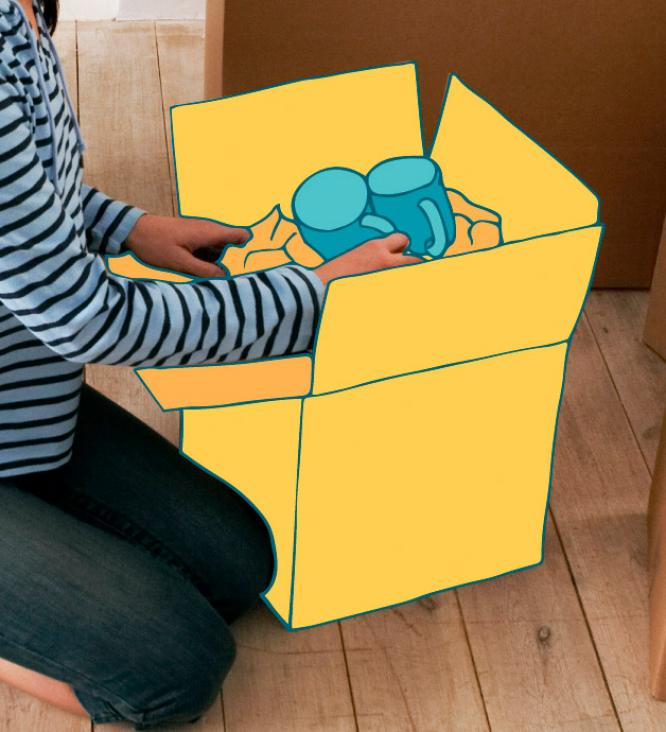 Child grabbing cups out of box