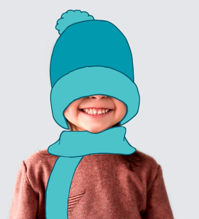 Boy smiling with beanie and scarf illustration