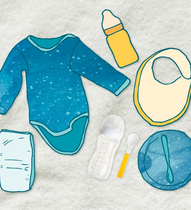 illustration of baby clothes and equipment